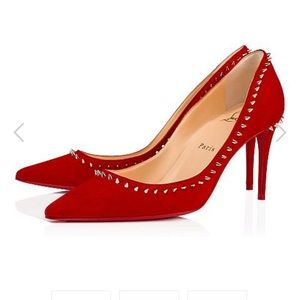 Authentic Anjalina Red Suede Studded 85mm Heels